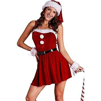 Ropa de Cosplay Mujer Traje de Navidad Terciopelo rojo Fiesta de ...