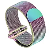 SIRUIBO Band for Apple Watch 38mm, Stainless Steel Mesh Milanese Loop with Magnetic Closure Clasp Replacement WristBand Bracelet for Apple Watch iWatch Series 3/2/1, Colorful