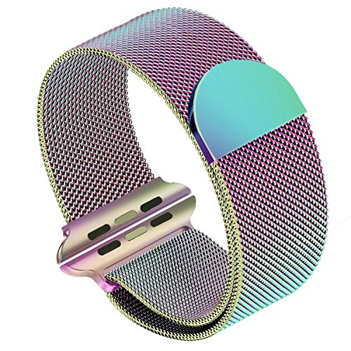SIRUIBO Band for Apple Watch 38mm, Stainless Steel Mesh Milanese Loop with Magnetic Closure Clasp Replacement WristBand Bracelet for Apple Watch iWatch Series 3/2/1, Colorful by SIRUIBO