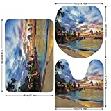 3 Piece Bathroom Mat Set,Tropical Decor,Cafe on Tropical Beach at Sunset Hotel Restaurant Luxury Cliff Romance Lagoon Decorative,,Bath Mat,Bathroom Carpet Rug,Non-Slip