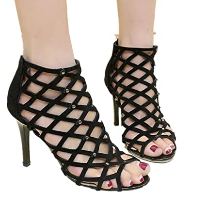 ad5cdedfa1d Image Unavailable. Image not available for. Color  Fheaven Women s Fashion  Peep Toe High Heels Shoes Rivet Roman Mesh Hollow Out Gladiator Sandals (
