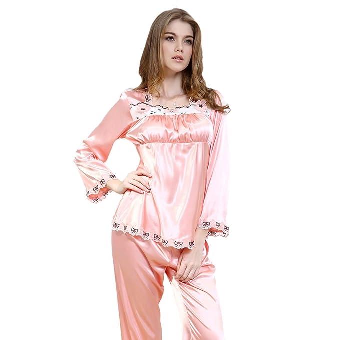 Señoras De Encaje Spinning Seda Sexy Pijamas Pijamas Pantalones Homewear Casuales Dos Piezas Set,Red-XXL: Amazon.es: Ropa y accesorios
