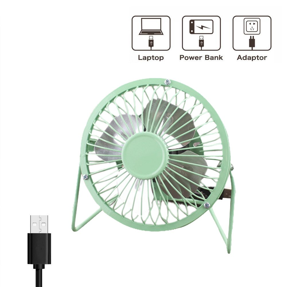 4 Inch USB Desk Fan USB Powered Mini Fan for Computer Quiet Personal 1-Speed Cooling Fan for Home Office Table,Green