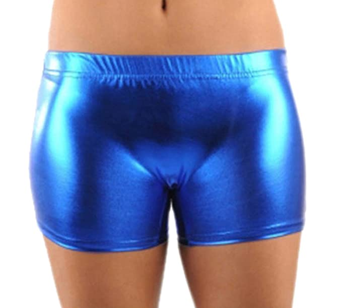 Girls Ladies Womens Metallic PVC Shiny Wet Look Pants Gym Dance Shorts