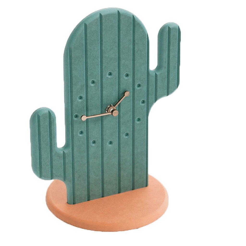 Unbekannt Uhr Desktop Mute Wanduhr Grün Kaktus Muster Wanddekoration Erfrischende Ornamente Schöne Kind Nacht Dekoration Haushalt Wohnzimmer Kinderzimmer Kindergarten Moderne Mode UOMUN (größe : A)
