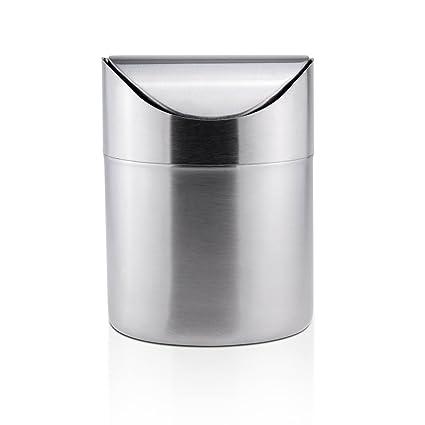 Mini bandeja de basura de sobremesa inoxidable Mesa de escritorio basura, papelera de reciclaje Papelera