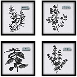 ArtbyHannah 4Pack 12x12 Black Picture Frame Kitchen Wall Art Decor for Dining Room with Spices Plant Canvas Prints Artwork,Perfect for Home Decoration