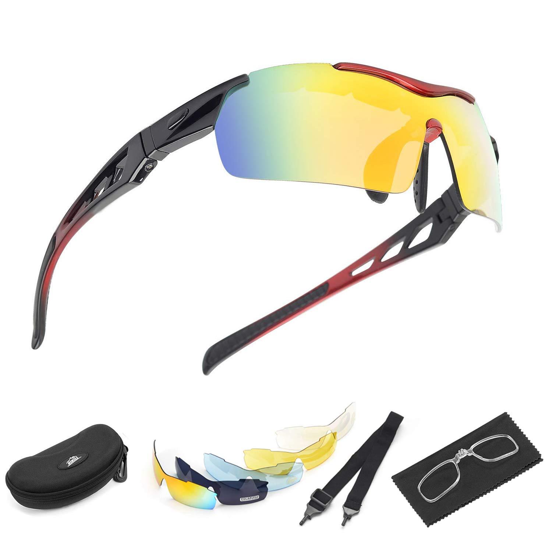 HiHiLL Gafas Ciclismo Polarizadas, Gafas de Sol Deportivas con 5 Lentes Intercambiables UV400 Protección Antivaho Antireflejo Anti Viento para Hombre y Mujer Ciclismo Running Coche MTB Moto Montaña Esquí - Azul A003 - Bleu