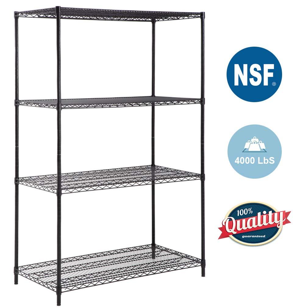 4-TierWireShelvingUnit Steel Large Metal Shelf Organizer Garage Storage Shelves Heavy Duty NSF Certified Height Adjustable Commercial Grade Metal Rack 4000 LBS Capacity 24''D x 48''W x 72''H,Black by BestOffice