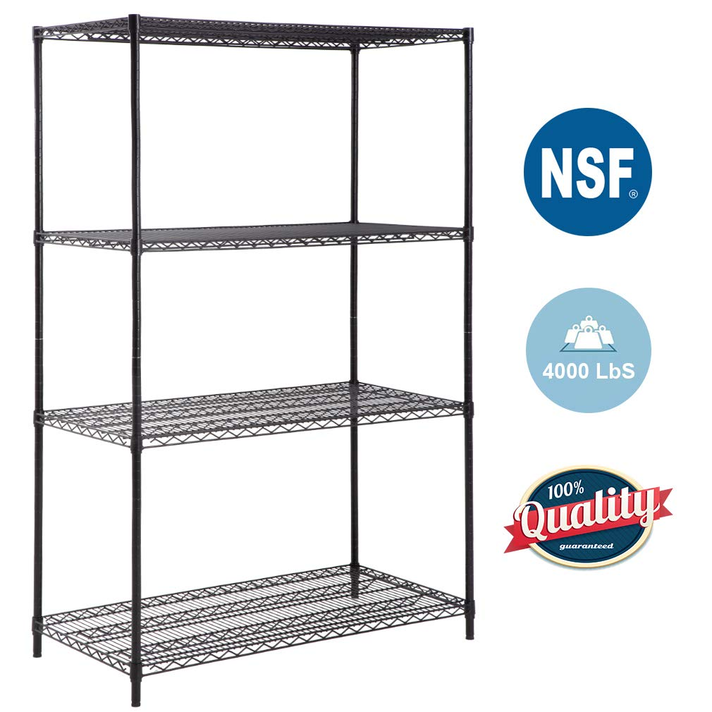 "4-Tier Wire Shelving Unit Steel Large Metal Shelf Organizer Garage Storage Shelves Heavy Duty NSF Certified Height Adjustable Commercial Grade Metal Rack 4000 LBS Capacity 24""D x 48""W x 72""H,Black"
