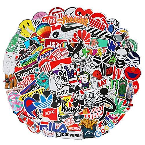 100 PCS Fashion Street Logo Stickers Cartoon Waterproof Stickers Car Laptop Helmet Luggage Vintage Skateboard Wall Decor Gift for Adult from SBOBUY