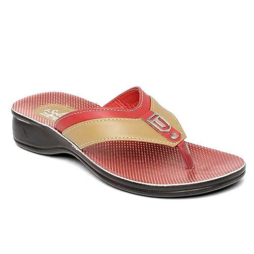 Red Fashion Slippers-6 UK (39.5 EU