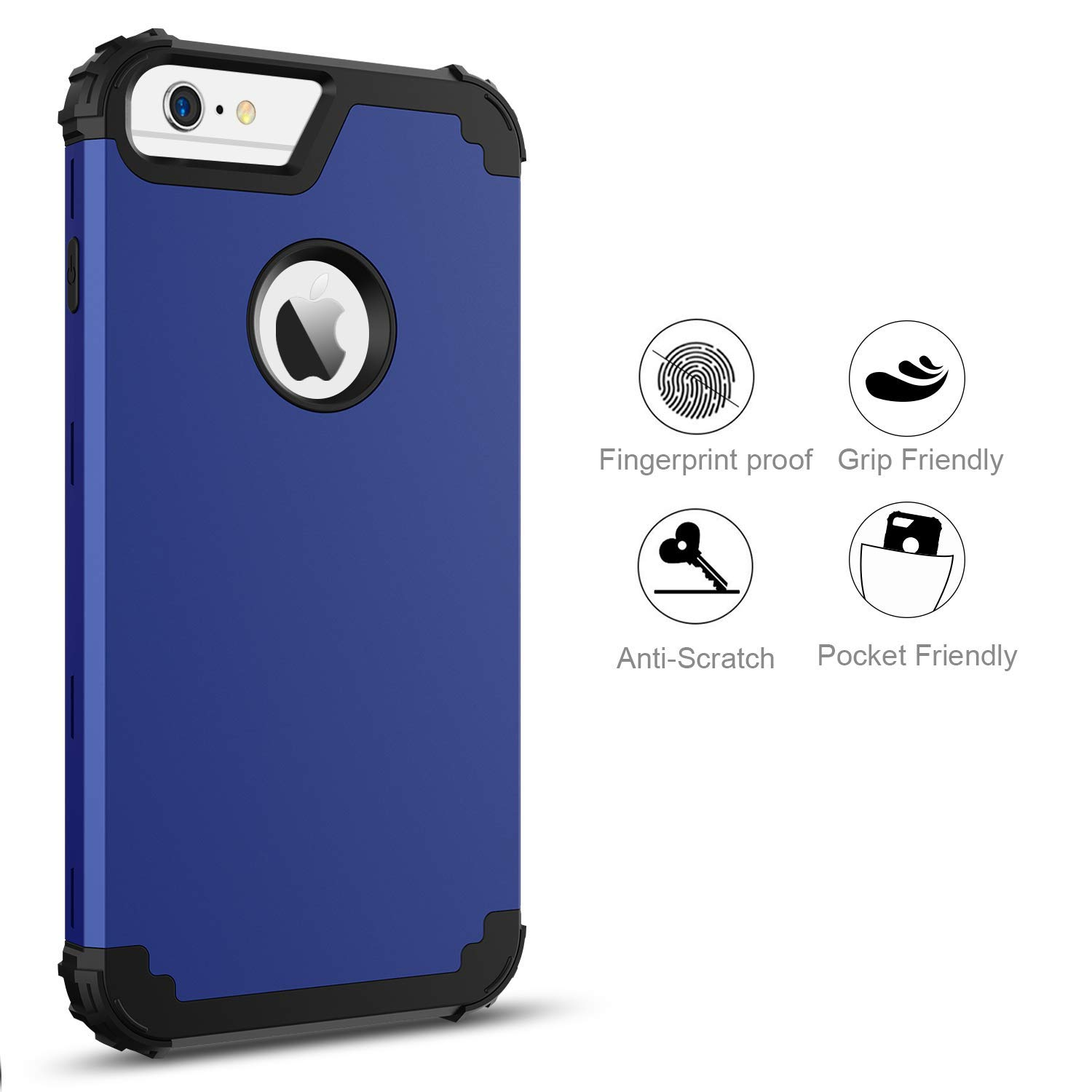 BENTOBEN Case for iPhone 6S Plus/iPhone 6 Plus, 3 in 1 Heavy Duty Rugged Hybrid Soft Silicone Bumper Hard PC Shockproof Non-Slip Protective Case for Apple iPhone 6S Plus/6 Plus (5.5 Inch), Blue/Black