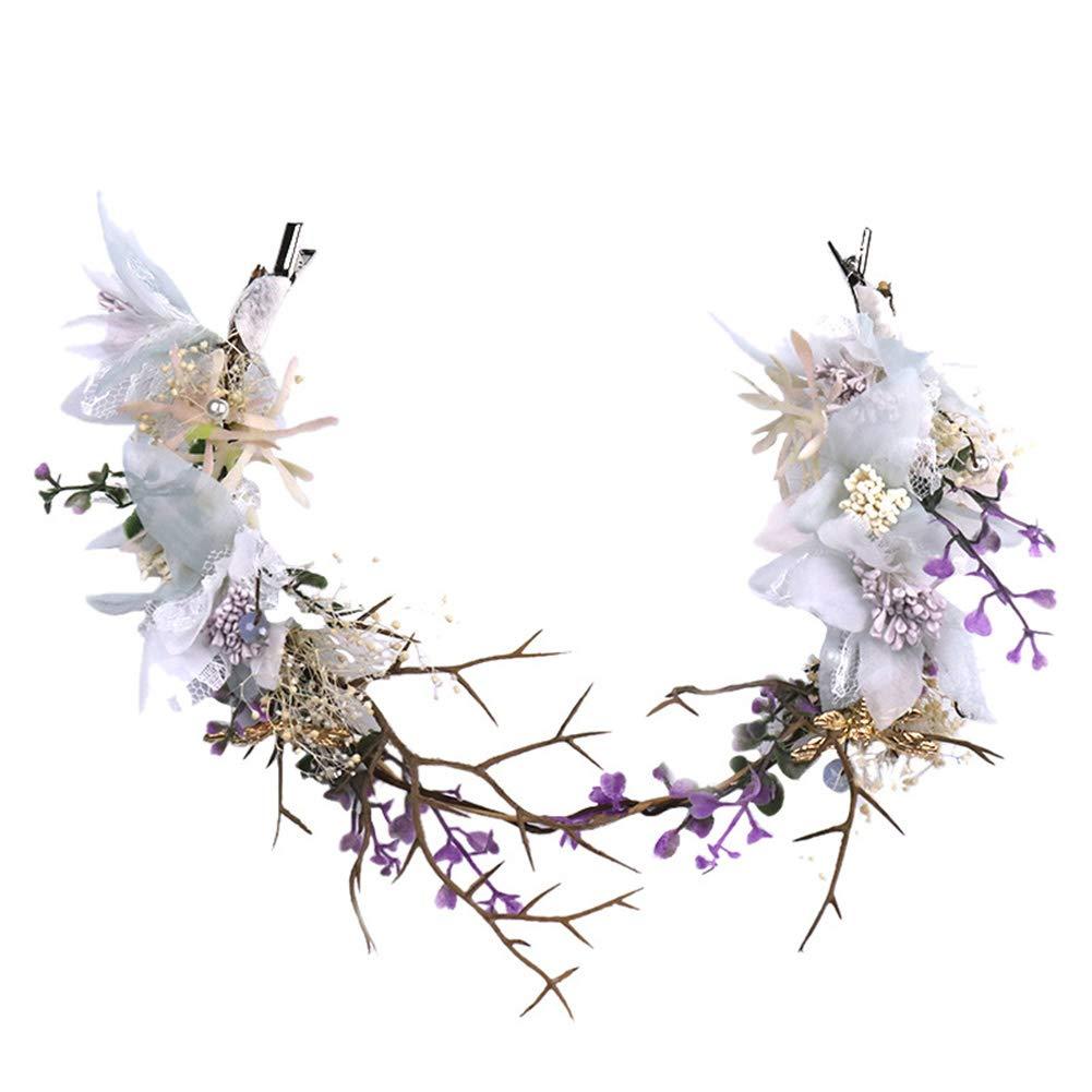 Purple Bride Headdress Handmade Hairband Wedding Bridal Party Hair Decoration AL