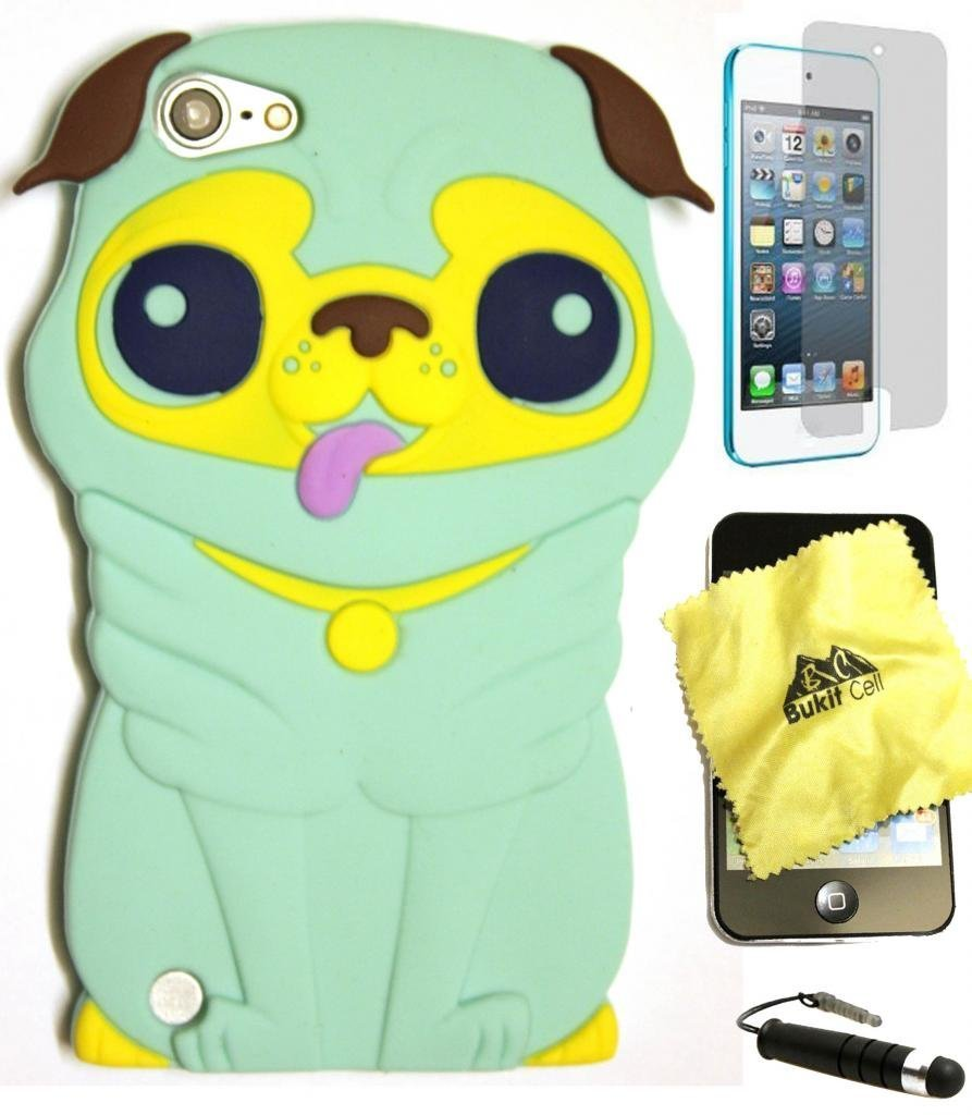 Bukit Cell Bundle:light Green 3D Dog Cartoon Soft Silicone Case for Ipod Touch 5/6th Generation + Cleaning Cloth + Screen Protector + Metallic Stylus Pen
