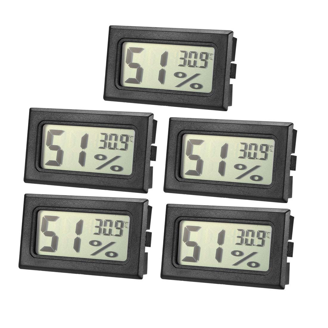 uxcell Black Digital Temperature Humidity Meters Gauge Indoor Thermometer Hygrometer LCD Display Celsius °C for Humidors, Greenhouse 5pcs