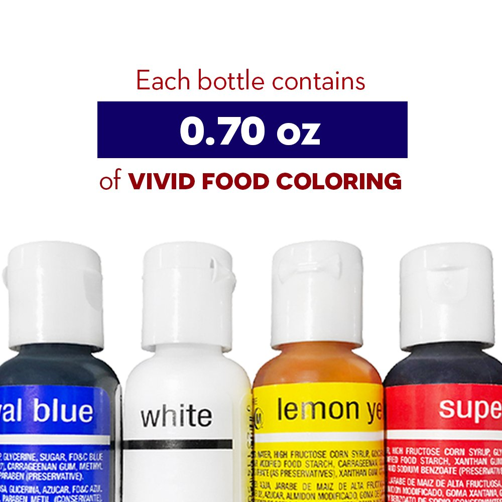 Chefmaster 4th of July Food Coloring Kit, 4-Pack Gluten Free Food Colors for Slime & Cake Decorating.70 oz Concentrated Food Coloring in Royal Blue, Super Red, Lemon Yellow & White by Chefmaster (Image #3)