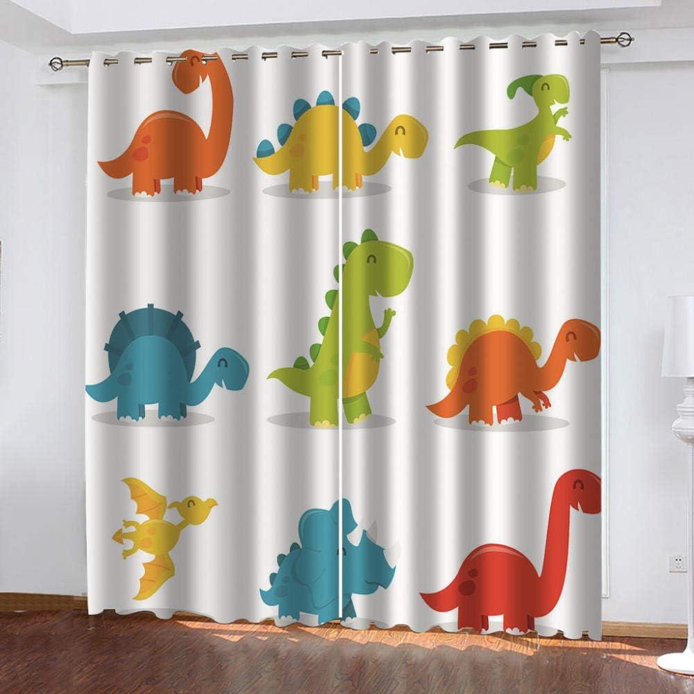 no/brand Rideaux Occultants denfant 3D Dinosaure De Dessin Anim/é,pour Chambre Salon Chambre des Enfants Rideaux /Économie D/Énergie Reduire Le Bruit150Wx166H Cm