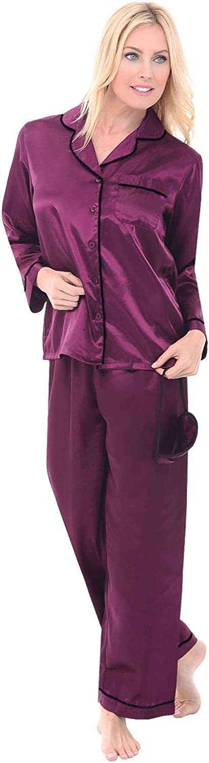 Long Silky Pjs Alexander Del Rossa Womens Button Down Satin Pajama Set with Sleep Mask