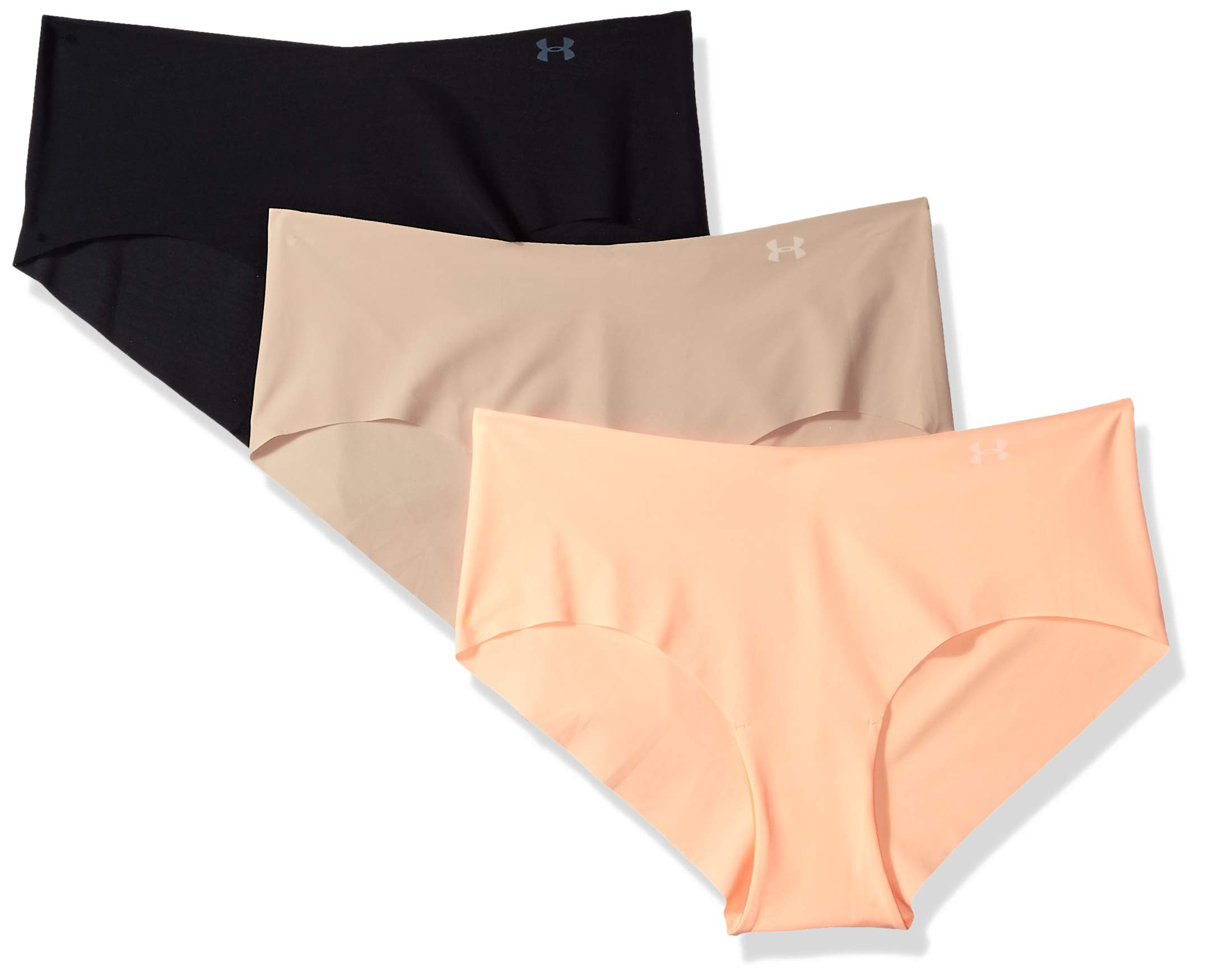 Under Armour Women's Pure Stretch Hipster (3 Pack), Black (002)/Peach Horizon, Medium
