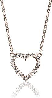 Gioielliere giallo argento 925placcato oro rosa collana a forma di cuore con zirconi