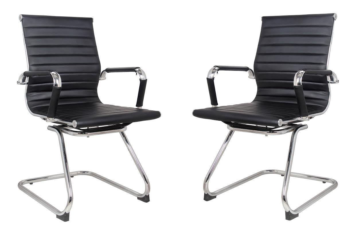 Classic Replica Visitors Chair in Black PU Leather. Chrome arms with Protective arm Sleeves with Zip Available. Suitable for Office and Home | Set of 2 Chairs by US Office Elements