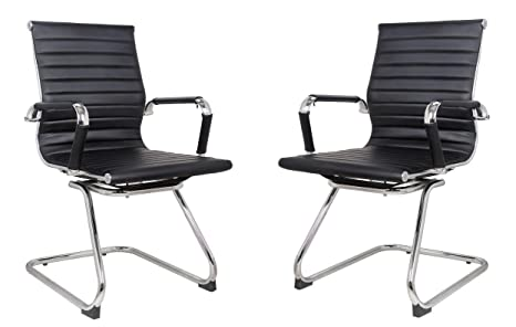 Pleasant Classic Replica Visitors Chair In Black Pu Leather Chrome Arms With Protective Arm Sleeves With Zip Available Suitable For Office And Home Set Of Spiritservingveterans Wood Chair Design Ideas Spiritservingveteransorg