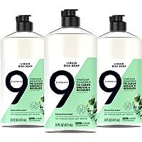 9 Elements Dishwashing Liquid Dish Soap, Eucalyptus Scent Vinegar Cleaner, 3 Count x 16 oz Bottles