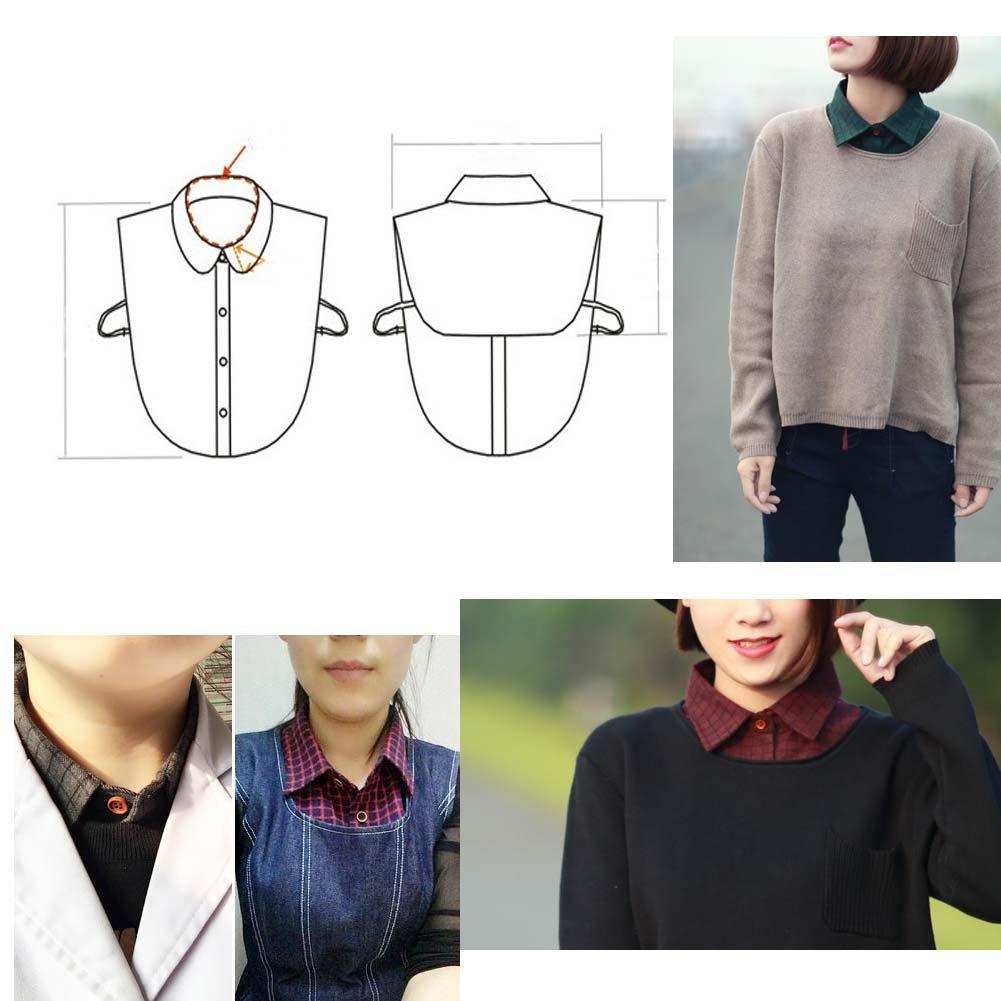 Bow-Tie Estilo Mujeres Fake Collar Medio Camisa Falso Faux Detachable Collar