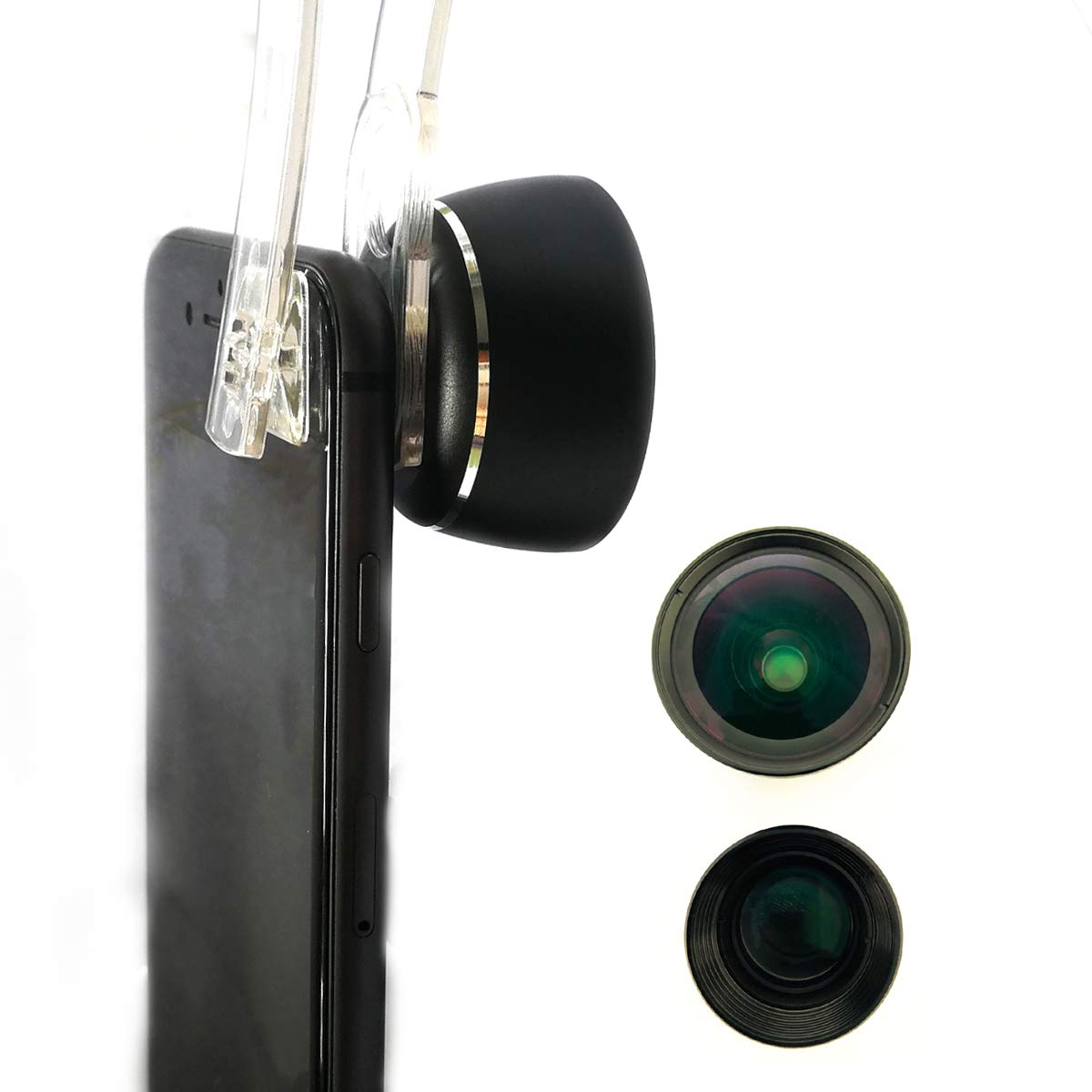 Moveski PL3 Cell Phone Camera Lens 3 Piece Package 105° HD Wide Angle 185° Fisheye 30~80mm Telephoto Macro Compatible with iPhone Xs RS X 8 Plus Android Smart Phones