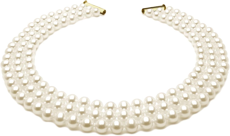 Collar de tres vueltas de perlas seleccionas - Anudadas en hilo de seda - 46 cm