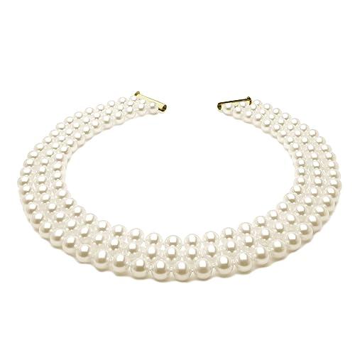 2d4b9ab55837 Collar de tres vueltas de perlas seleccionas - Anudadas en hilo de seda -  46 cm  Amazon.es  Joyería