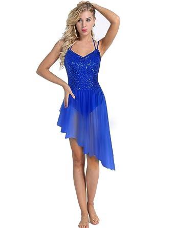 e886600fb95 TiaoBug Femme Justaucorps de Danse Ballet Tutu Asymétrique Robe à  Paillettes Body Robe de Danse Latine