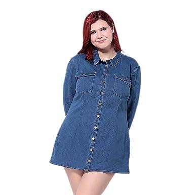 Weheart Womens Plus Size Long Sleeve Denim Shirt Dress Pink Blue
