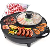 Electric Barbecue Grill with Hotpot House of Grill Indoor Non-Stick 2 in 1 Multi-Function Temperature Control Smokeless…
