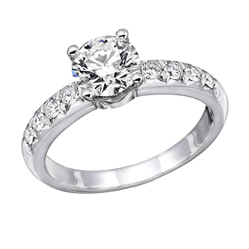 1.00 cttwIGI Certified Diamond Engagement Ring in 14K White Gold (J-K Color, I1-I2 Clarity)