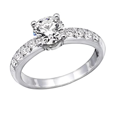 1 00 cttw IGI Certified Diamond Engagement Ring in 14K White Gold