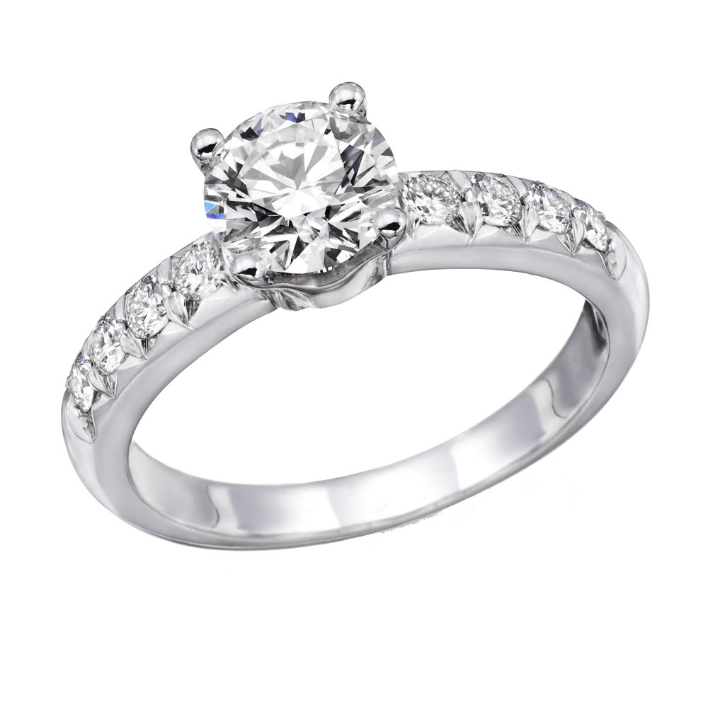 14K White Gold Brilliant Round Cut Diamond Engagement Ring (0.90 cttw, J-K Color, I1-I2 Clarity) - Size 6