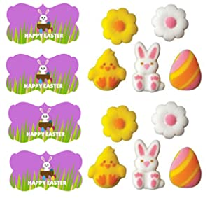 Easter Lovable Assortment Sugar Decorations for Cakes and Cupcakes Food Decoration 12 count with 12 Easter Stickers