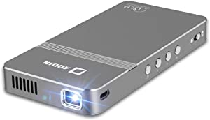 AODIN AirGo Pico Projector, WiFi Mini Projector Portable, DLP LED Video Projector, HDMI, USB, Micro SD, 3.5mm Audio for iPhone, Android, Laptop, PC, Game, 100 ANSI Lumen