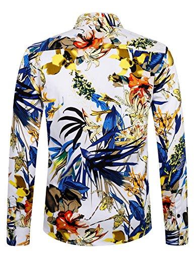 Luxueuse Chemise Ajustée Fleurs Manches Homme Pur En 1036 Aptro Coton Longues Classique Mode À aHZPxTdqw
