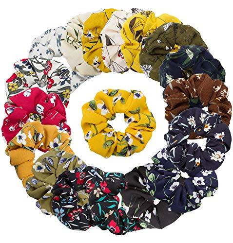 Cubaco 18 Pack Hair Scrunchies Women Flower Chiffon Hair Scrunchy Hair Bobbles Scrunchy Hair Ties Ponytail Holder for Girls Women, 18 Colors