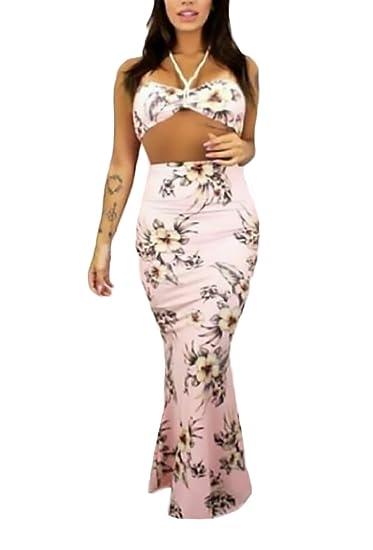 Mujer Blusas Y Faldas Largas Verano Elegantes Moda Sencillos Diario Estampado Flores Sin Mangas Bandeau Conjuntos De Crop Top Talle Alto Apretados Falda ...
