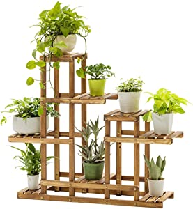 Sanycool Multi-Tier Wood Plant Stand Display Shelving Flower Pot Organizer Storage Rack Shelving Unit for Indoor Outdoor Garden Lawn Patio Bathroom Office Living Room Balcony US Stock