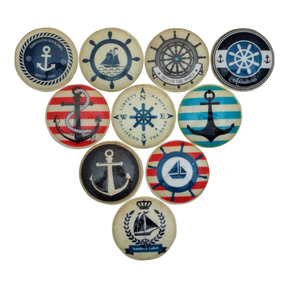 Set of 10 Anchors Away Cabinet Knobs