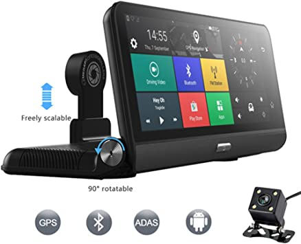 "7.8/"" 1080P Android 5.1 Car Dash Camera Recorder Wifi FM GPS Navi Map 4G BT DVR"