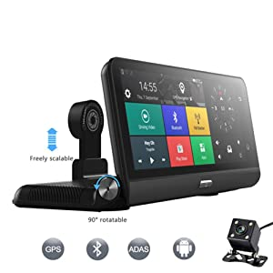 "4G Car DVR Camera GPS 8"" Android 5.1 FHD 1080P WiFi Video Recorder Dash Cam Registrar Parking Monitoring Dual Lens"