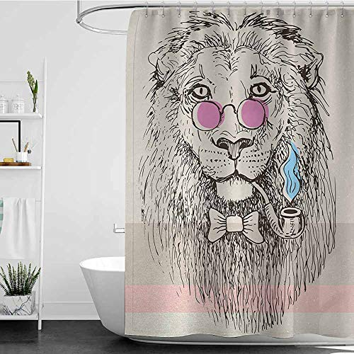 SKDSArts Navy Blue Shower Curtains for Bathroom Animal,Magestic Lion Head Hipster Style Glasses Pipes Sketch Print,Beige Black Baby Blue Pale Pink,W69 x L72,Shower Curtain for Women ()