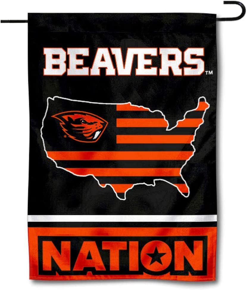 College Flags & Banners Co. Oregon State Beavers Garden Flag with USA Stars and Stripes