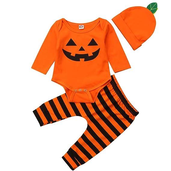 S/äuglings-Baby-Kleinkind-Jungen-M/ädchen-Langer H/ülsen-K/ürbis-Spielanzug-Hut mit Gestreifter Pant Halloween-Kost/üm